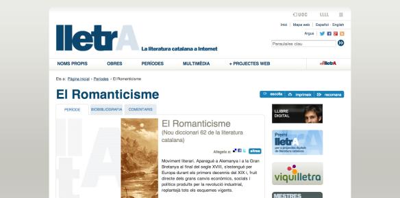 El Romanticisme   Períodes Literaris a lletrA   Literatura catalana a internet